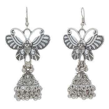 Navratri Oxidized Silver Butterfly Jhumki Earrings for Women