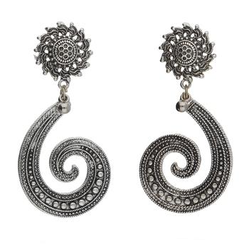 Navratri Oxidized Silver Earrings for Women