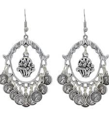 Bohemian Afghani Oxidized Silver Chandbali Earrings For Women