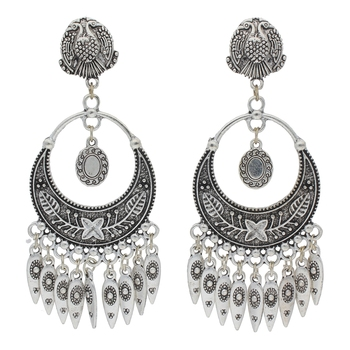 Bohemian Afghani Oxidized Silver Chandbali Earrings for Women