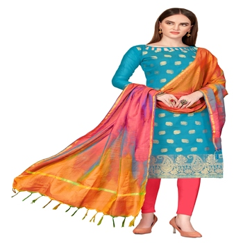 turquoise woven banarasi unstitched salwar with dupatta