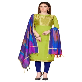 green woven banarasi unstitched salwar with dupatta