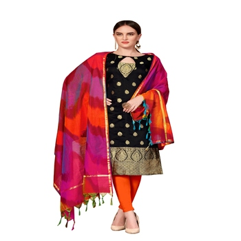 black woven banarasi unstitched salwar with dupatta