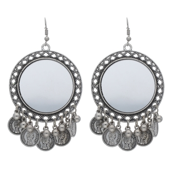 Bohemian Afghani Oxidized Silver Chandbali Mirror Work Earrings For Women