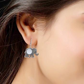 Bohemian Afghani Oxidized Silver Elephant Miror Work Earrings For Women