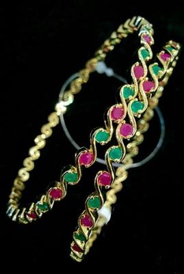 Designer multicolour American diamond bangles