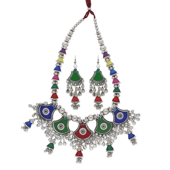 Oxidised Silver Plated Multi Colour Necklace Set with Earrings For Women