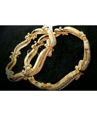 Designer white American diamond bangles
