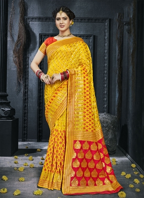 Yellow woven silk saree with blouse