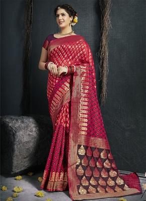 Dark pink woven silk saree with blouse