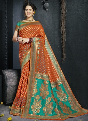 Rust woven silk saree with blouse