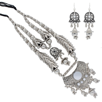 Oxidised Silver Plated Necklace Set with Earrings For Women