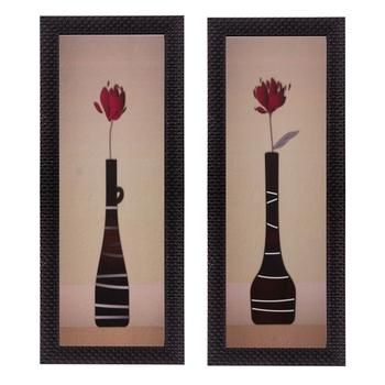Set of 2 Botanical Pots Satin Matt Texture UV Art Painting