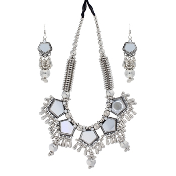 Oxidised Silver Plated Mirror work Necklace Set with Earrings For Women