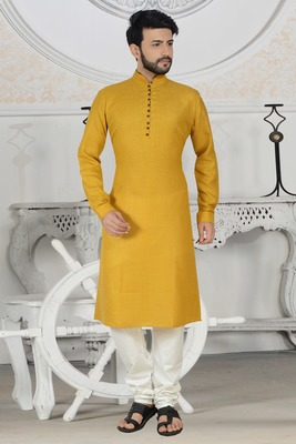 yellow cotton stylish digital print kurta pyjama