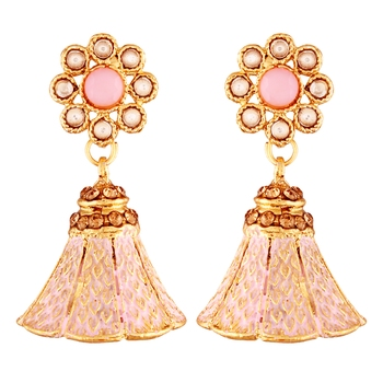 Traditional Gold Plated Kundan & Meenakari Jhumki Earrings For Women & Girls