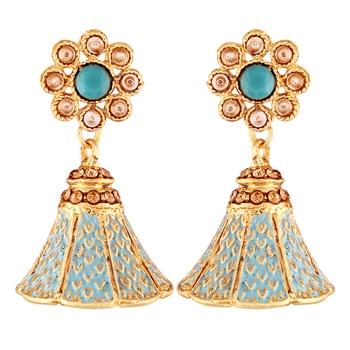 Traditional Gold Plated Kundan & Meenakari Jhumki Earrings For Women & Girls