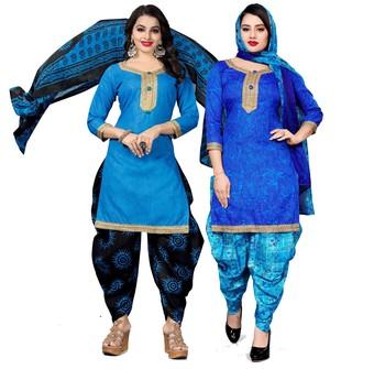Light-blue digital print cotton salwar