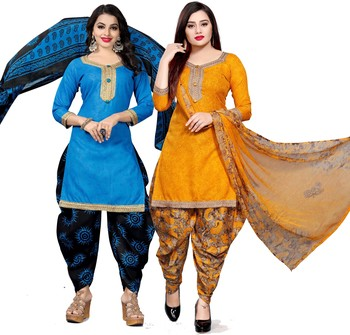 Light-blue digital print cotton salwar