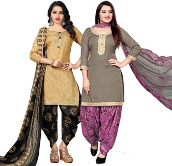 Beige digital print cotton salwar