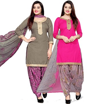 Grey abstract print cotton salwar