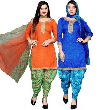 Orange floral print cotton salwar