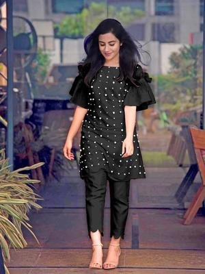 Black hand woven cotton ethnic-kurtis