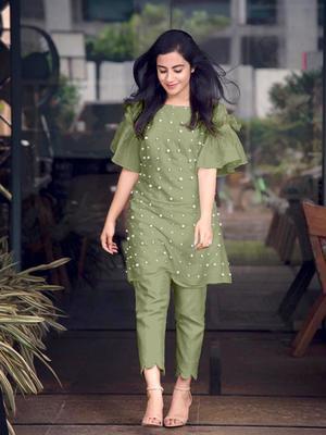 Light-green hand woven cotton ethnic-kurtis