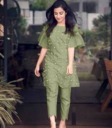 Light-green hand woven cotton ethnic-kurtis
