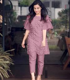 Pink hand woven cotton ethnic-kurtis