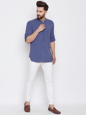 Turquoise woven pure cotton men-kurtas