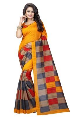 yellow Printed Bhagalpuri Silk Saree With Blouse