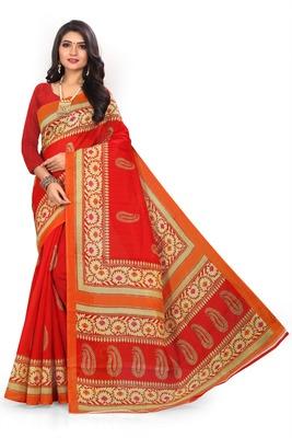 Red printed art silk sarees saree with blouse
