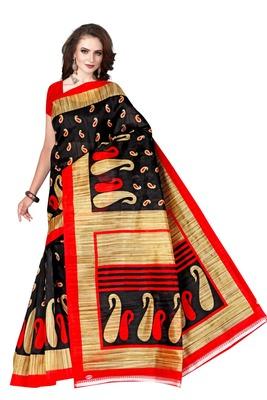 Black printed art silk sarees saree with blouse