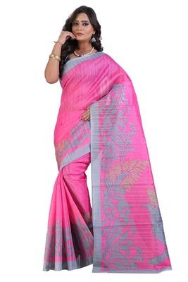 Pink printed art silk sarees saree with blouse