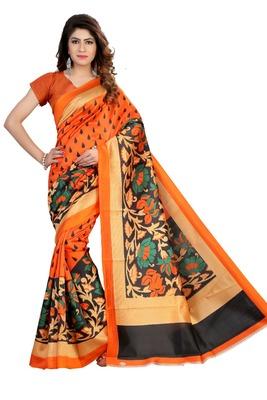 Orange printed art silk sarees saree with blouse