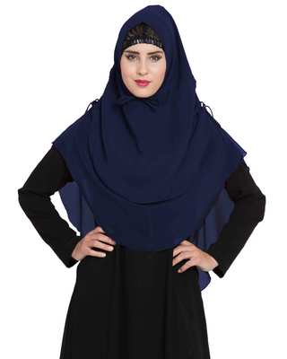 Stylish Navy Blue Khimar Ready To Wear Instant Hijab In Dual Layer