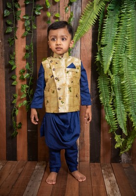 Navy Blue Kurta Churidar with Nehru Jacket for boys