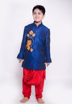 Red Kurta Pyjama with lotus cowl achkan set for boys