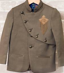 OLIVE GREEN DOUBLE FLAP COAT FOR BOYS