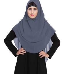 Stylish Grey Khimar Ready To Wear Instant Hijab In Dual Layer