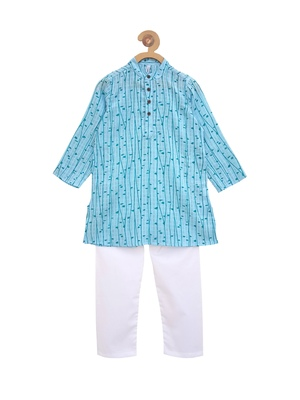 Blue printed cotton boys-kurta-pyjama
