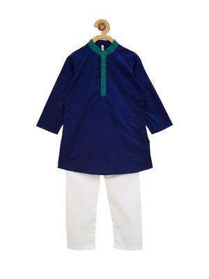Blue plain cotton boys-kurta-pyjama