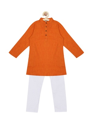 Orange plain cotton boys-kurta-pyjama