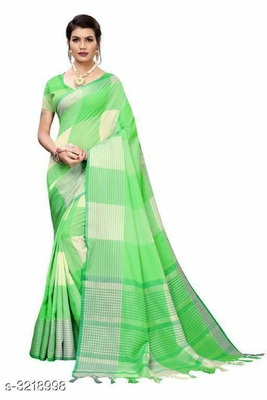 Parrot green woven cotton silk saree with blouse