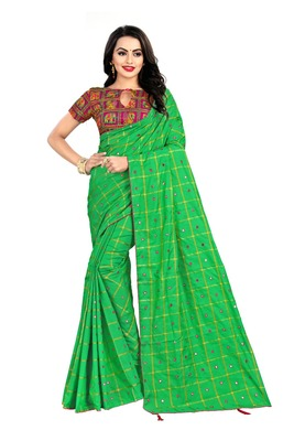 Green embroidered south silk saree with blouse