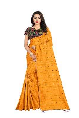 Orange embroidered south silk saree with blouse