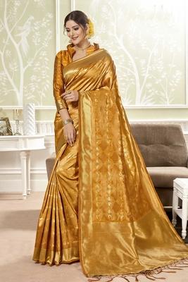 Golden woven banarasi silk saree with blouse