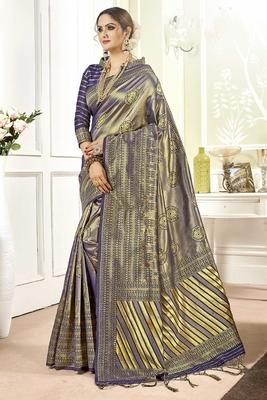 Violet woven banarasi silk saree with blouse