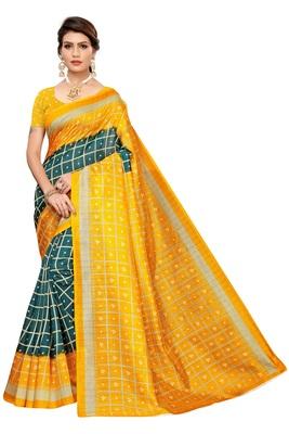Green printed art silk saree with blouse